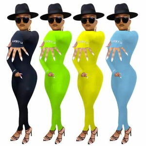 NEW Stylish Women Letter Printed Long Sleeves Bodycon Sporty Club Long Jumpsuit