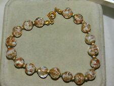 """Italian Murano Gold Foiled Art Glass Knotted Bead  X Long 8.5"""" Bracelet 4k 92"""