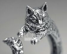 Unique Detailed Cat 925 Sterling Silver Women Girl Animal Pet Ring size 6.5
