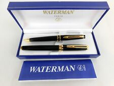 Waterman Black Lacquer and Gold Ballpoint Pen and Pencil