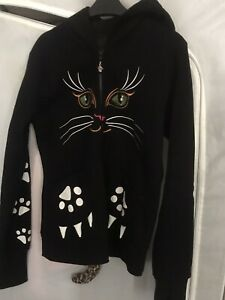 Banned Black Gothic Punk Emo Rockabilly Kitty Paw Tail Cat Face Womens Hoodie.