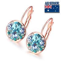 18K Rose Gold Filled Elegant Blue Colorful Earrings  Round Swarovski Crystals