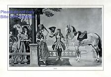 Rococo XL allemand Art Imprimer 1913 par Angelo JANK * † Munich lady perruque robe cheval +