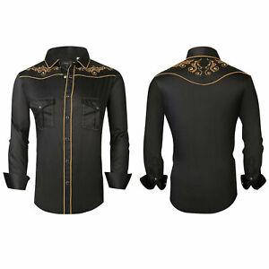 Mens Western Rodeo Cowboy Shirt Black Gold Embroidered Floral Pockets General 02