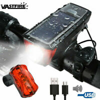 LED Bicycle Front Light Horn+Solar Powered Headlight Taillight USB Rechargeable