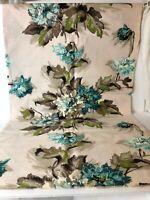 "Vtg 1940s - 50s Tan/Turquoise BARKCLOTH Fabulous Prints TOWER Vat Dyes 47""wX43""L"
