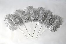 Silver Glitter leaf 40 cm x 6 PCS Christmas weddings floral displays