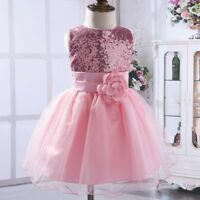 Kids Baby Flower Girls Party Sequins Dress Wedding Bridesmaid Dresses 0-12Years