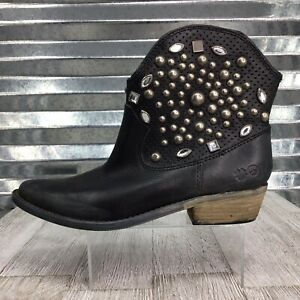 Lucky Brand Chelsea Boots Women's Black Leather Studded Ankle Cowboy Size 6.5