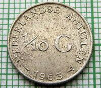 NETHERLANDS ANTILLES JULIANA 1963 1/10 GULDEN 10 CENTS, SMALL SILVER