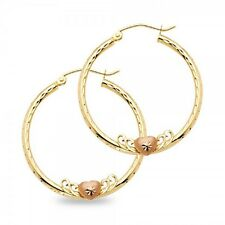 Round Hoop Earrings with Heart 14k Yellow & Rose Gold Diamond Cut Polished Solid