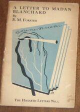 HOGARTH LETTERS #1 LETTER TO MADAN BLANCHARD E.M. Forster Virginia Woolf Leonard