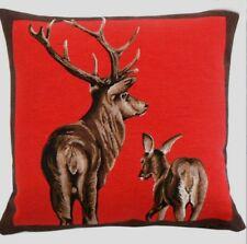 Kissen - Hirsche rot ca 45x45 cm Landhaus Dekokissen Zierkissen gefüllt