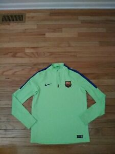 FC Barcelona Nike Dri-Fit Girl's Neon Green Pullover Warm Up Top Size XL