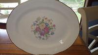 """Homer Laughlin 12"""" Oval Serving Platter 1950 Red Yellow Blue Flowers Eggshell"""