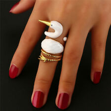 3X/ Set Women White Swan Wrap Band Ring Opening Animal Knuckle Ring Jewelry Fad
