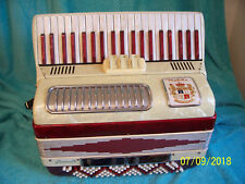 White & Red Nobility Juniorette Accordion 2&4 reeds Noble Accordian G cond.