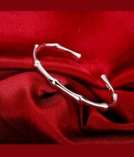 Adjustable Bangle Fashion Bracelet #B233 Womens 925 Sterling Silver Bamboo Cuff