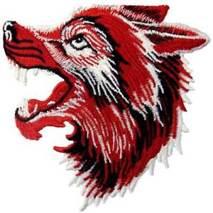 Embroidered Iron On Sew On Patches transfers Badges appliques large Roaring Wolf