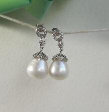 Genuine 12-13mm drop freshwater pearls in 925 sterling silver CZ stud earings