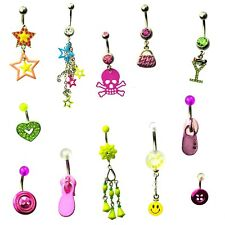 12 x dangle dangling belly bar silver stainless steel bright fluro gem navel 14g