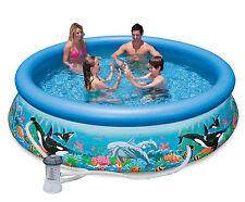 "Intex 10' x 30"" Easy Set Kids Inflatable Above Ground Swimming Pool with Pump"
