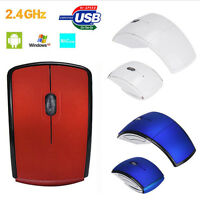 Rechargeable 2.4GHz Foldable Arc Wireless Optical Mouse+USB Receiver For Mac PC
