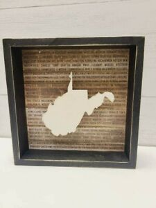 West Virginia state Outline Wooden Box Sign Primitives by Kathy Wanderlust