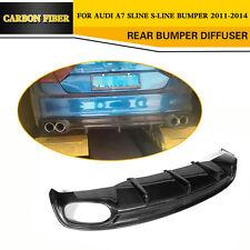 Rear Bumper Lip Diffuser Fit for Audi A7 Sline Bumper 11-14 Black Carbon Fiber