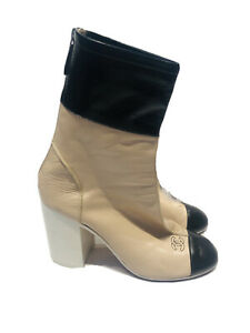 CHANEL CC Beige Black Patent Leather Cap Toe Back Zip Women's Boots Heels