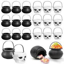 2Pc Mini cráneo Calderas De Bruja Candy plástico Caldero titular utilería fiesta de Halloween