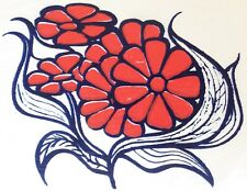 Vintage 60s Hippy Flower Power Iron On Transfer Off Center Print Red