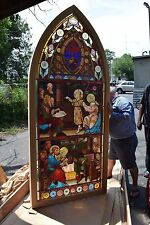 + Beautiful Older Figural Stained Glass Church Window in Frame + chalice co.