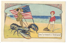 AMERICAN SOLDIER On LOBSTER & US FLAG Pun on French LOBSTER a l'Americaine DISH!