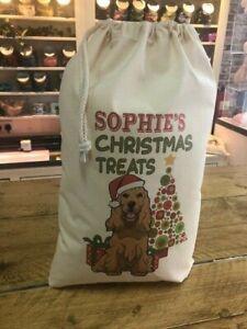 Personalised Dog Santa Sack Cocker Spaniel - Sophie Design