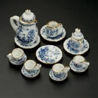 15Pcs Dining Ware Ceramic Blue Flower Set For 1:12 Dollhouse Miniatures Nice