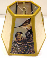 "NOS! Hexagon Lampshade 3 Yellow Print Bird  Clip-On 4.5"" H x 3.25"" W x 6.25"" W B"
