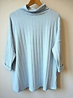 New Womens Pale Blue Roll Neck 3/4 Sleeves Ribbed Fine Knit Jumper Size 12-18