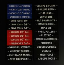 Magnetic TOOLBOX LABELS for all metal tool boxes 30 pieces color coded USA ship