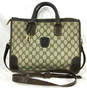 Auth Vintage Gucci Speedy Bag + Key Fob GG Monogram Travel Brown Crossbody