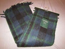 ralph lauren fringe tartan blanket throw 54x72 nwt acrylic blue green black