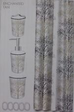 16 pc Famous Home Enchanted Tan Shower Curtain, Hooks, Bath Accessories Set NIP