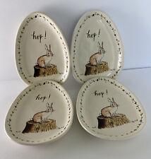 Rae Dunn Magenta Bunny Rabbit Hop Ceramic Canapé Cake Dessert Dish Plate Set 4
