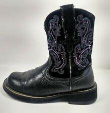 Ariat Fatbaby womens black leather pink boots size 9.5B