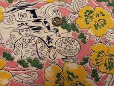 Best Vintage Feedsack Quilt Fabric 40s Novelty Oriental Pink Full Sack Wwii Era