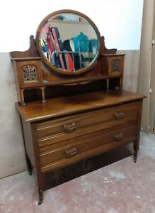 LS9 Vintage Antique Edwardian Mahogany Dressing Table Chest Of Drawers