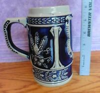 ST Vintage Beer Stein Mug Hand painted Western Germany cobalt blue grey pottery
