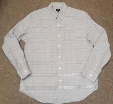 MENS XL J.CREW L/S CASUAL DRESS SHIRT grey STRIPE BUTTON FRONT EUC