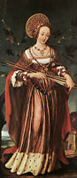 Nice Oil painting Holbein Hans - Female portrait St Ursula in landscape canvas