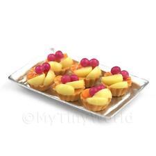 6 En Vrac Maison De Poupées Miniature poché Poire et Cerise tartes sur plateau